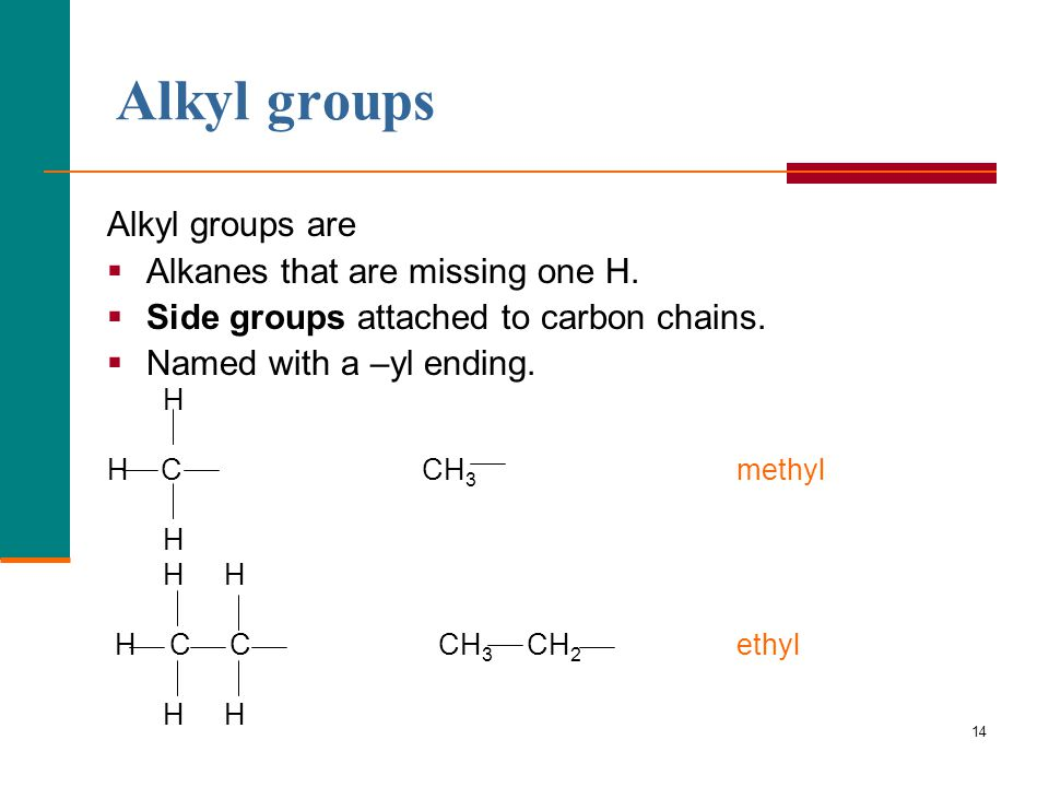 Alkyl groups Alkyl groups are Alkanes that are missing one H.