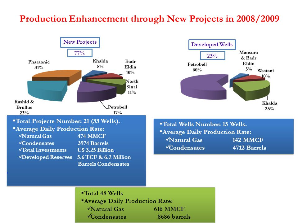 Production Enhancement through New Projects in 2008/2009