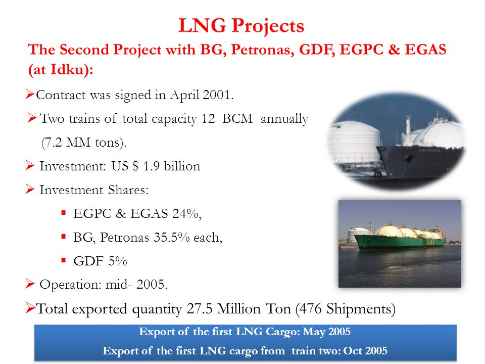 The Second Project with BG, Petronas, GDF, EGPC & EGAS (at Idku):