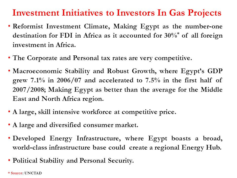 Investment Initiatives to Investors In Gas Projects