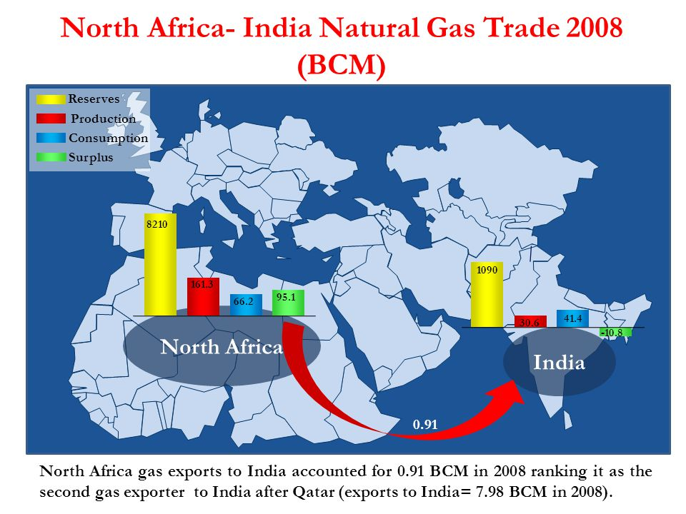 North Africa- India Natural Gas Trade 2008 (BCM)