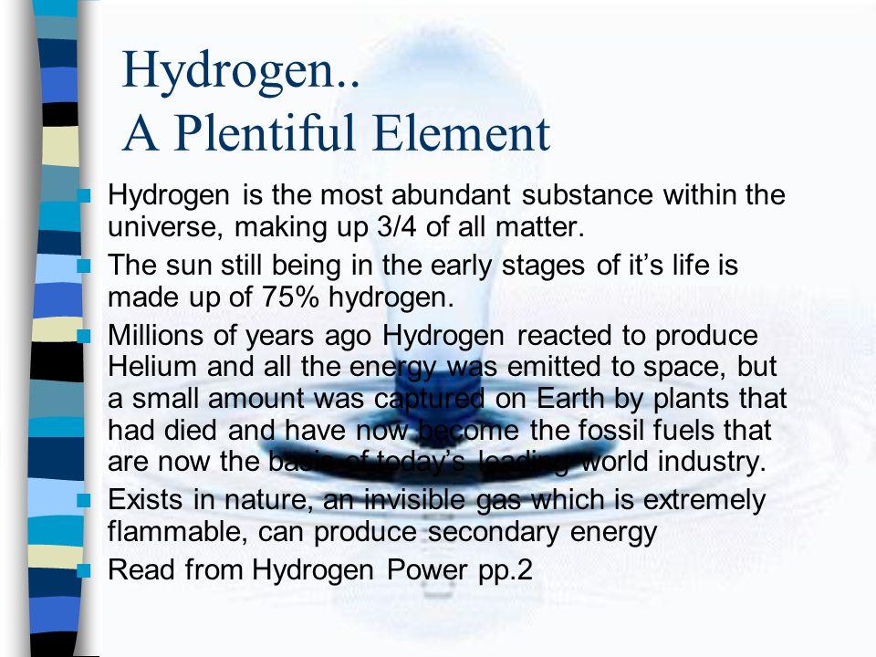 Hydrogen.. A Plentiful Element