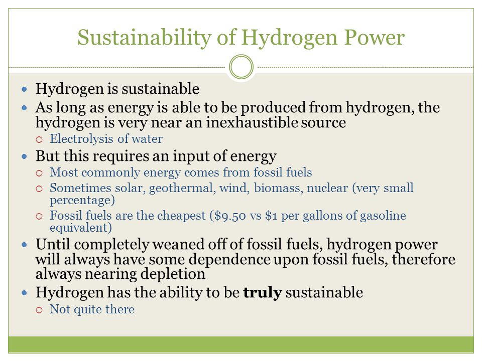 Sustainability of Hydrogen Power