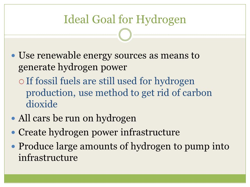 Ideal Goal for Hydrogen