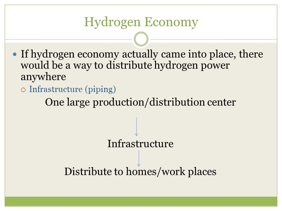 Hydrogen Economy If hydrogen economy actually came into place, there would be a way to distribute hydrogen power anywhere.