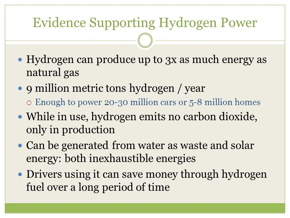 Evidence Supporting Hydrogen Power