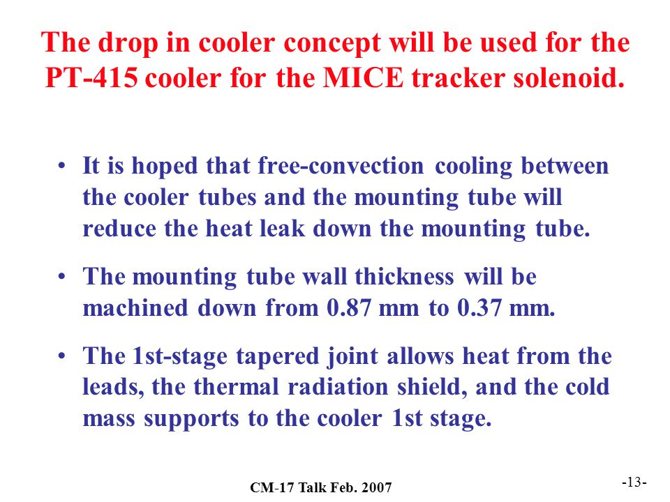 The drop in cooler concept will be used for the PT-415 cooler for the MICE tracker solenoid.