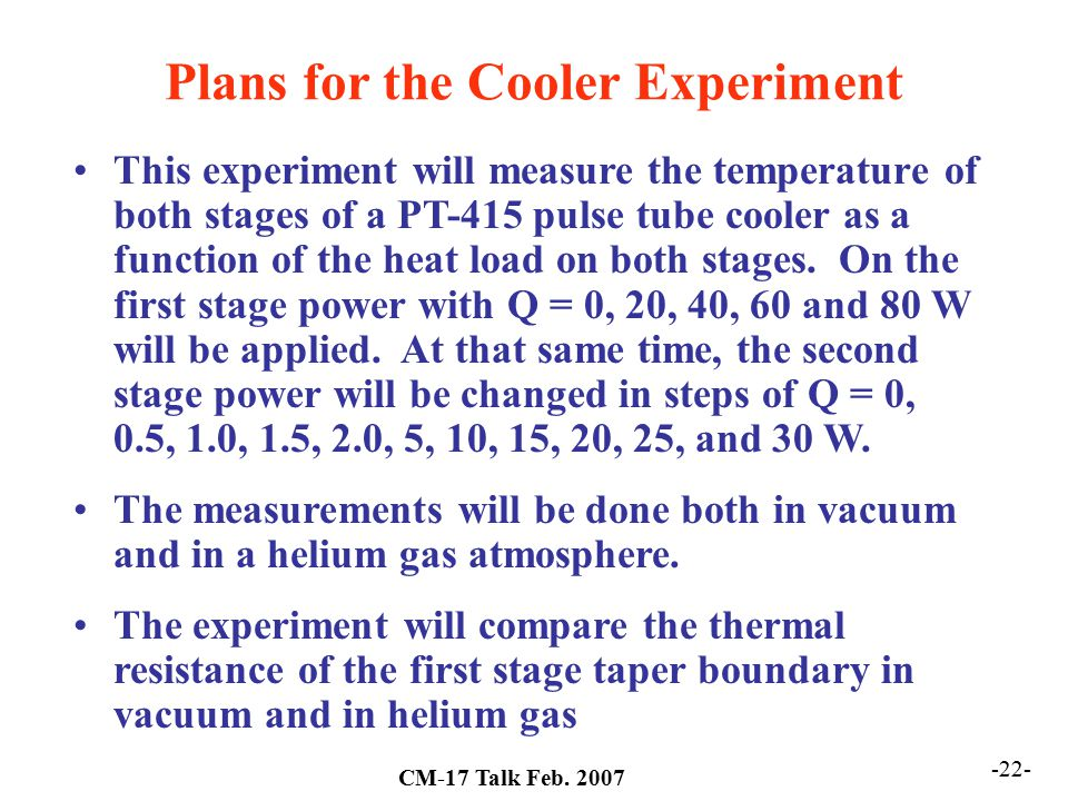 Plans for the Cooler Experiment