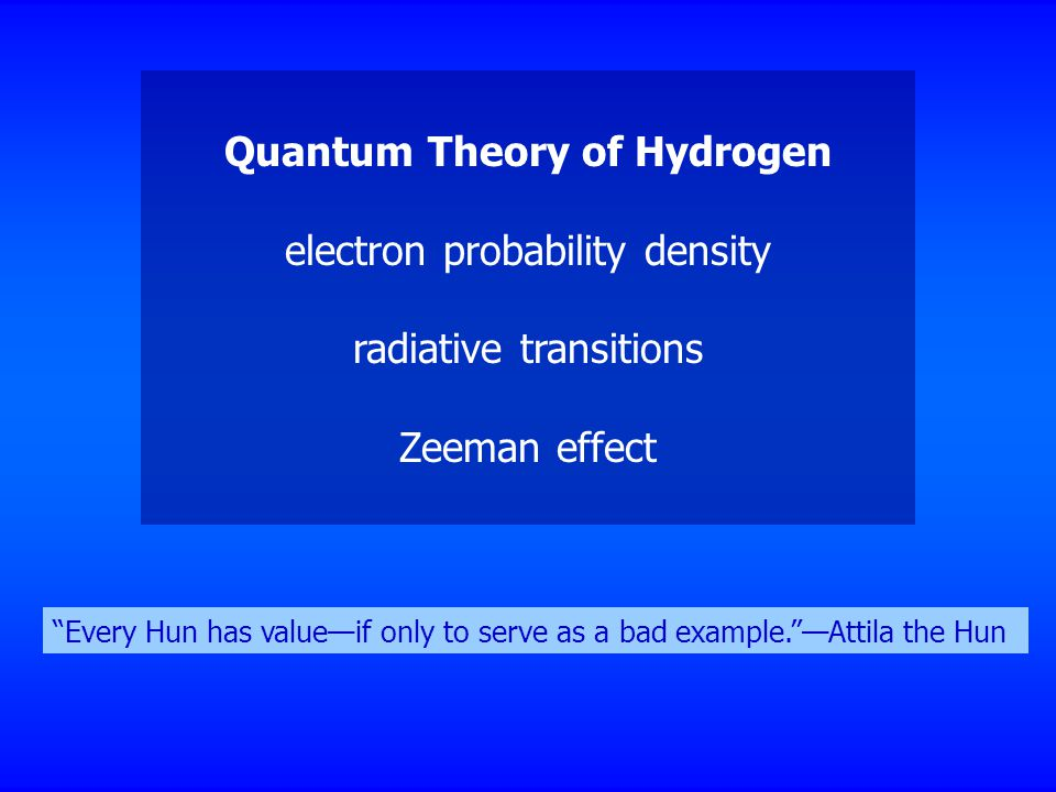 Quantum Theory of Hydrogen