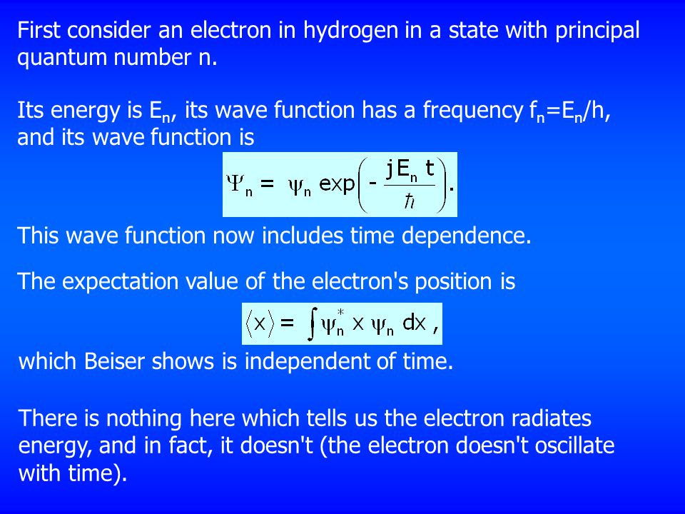 First consider an electron in hydrogen in a state with principal quantum number n.