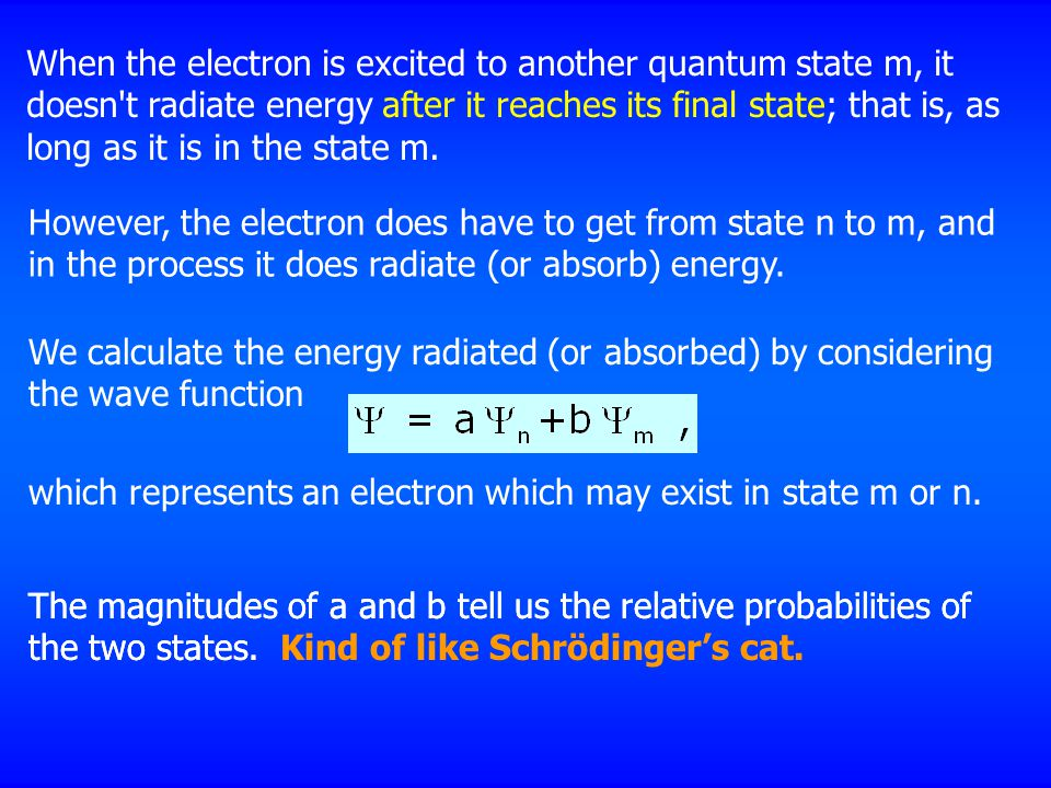 When the electron is excited to another quantum state m, it doesn t radiate energy after it reaches its final state; that is, as long as it is in the state m.
