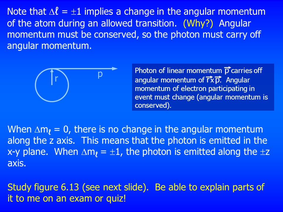 Note that ℓ = 1 implies a change in the angular momentum of the atom during an allowed transition. (Why ) Angular momentum must be conserved, so the photon must carry off angular momentum.