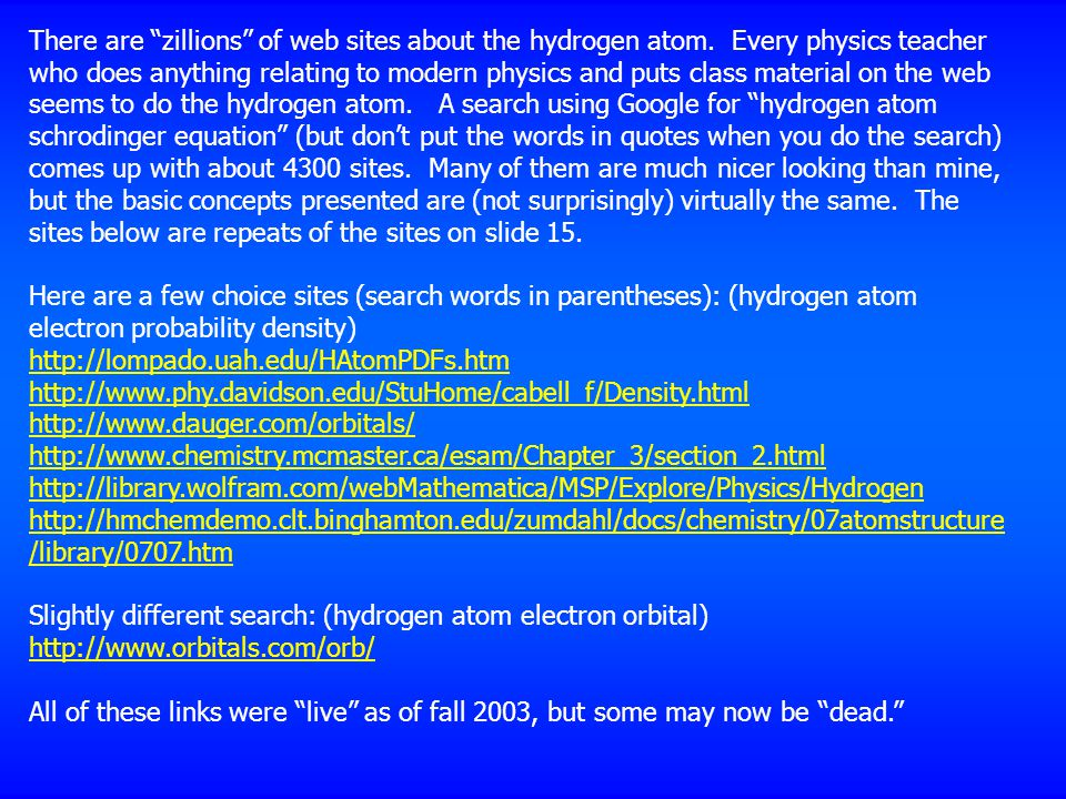There are zillions of web sites about the hydrogen atom