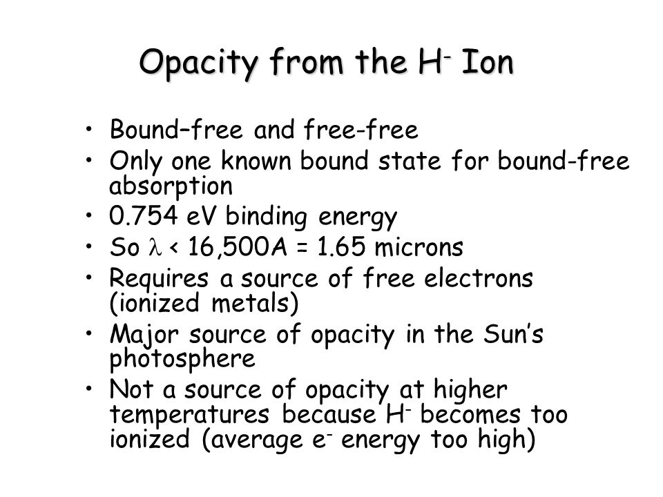 Opacity from the H- Ion Bound–free and free-free