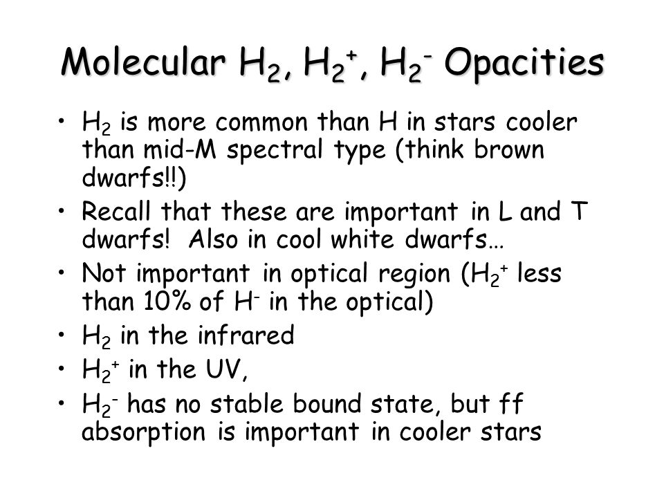 Molecular H2, H2+, H2- Opacities
