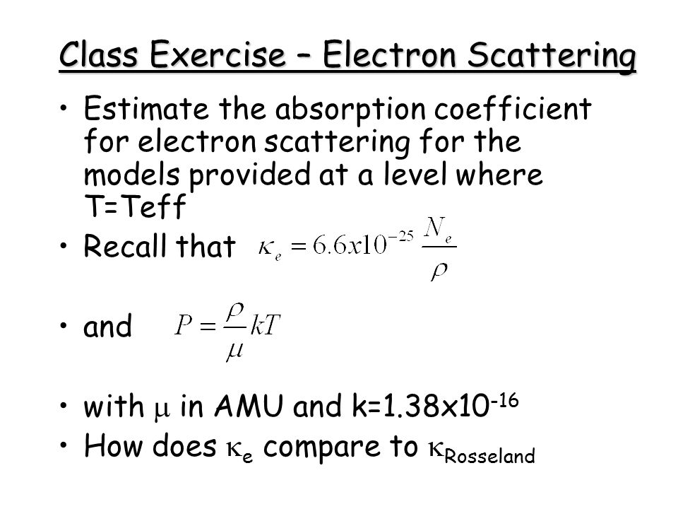 Class Exercise – Electron Scattering