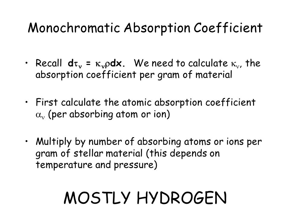 Monochromatic Absorption Coefficient