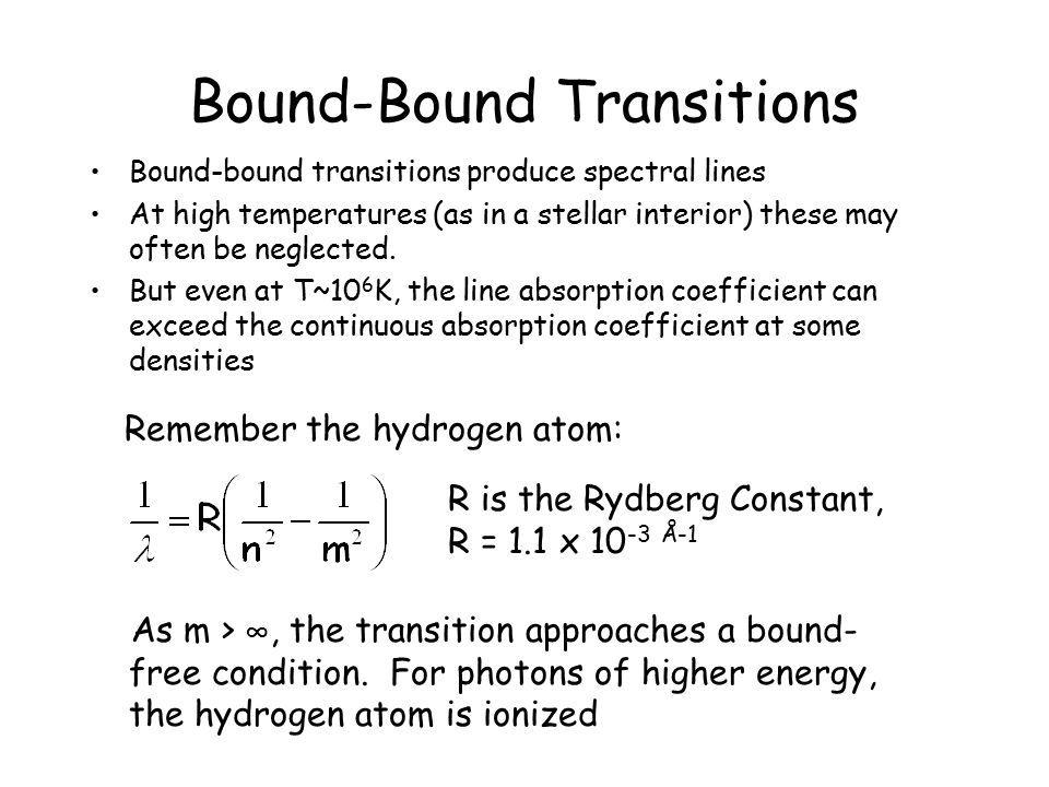 Bound-Bound Transitions
