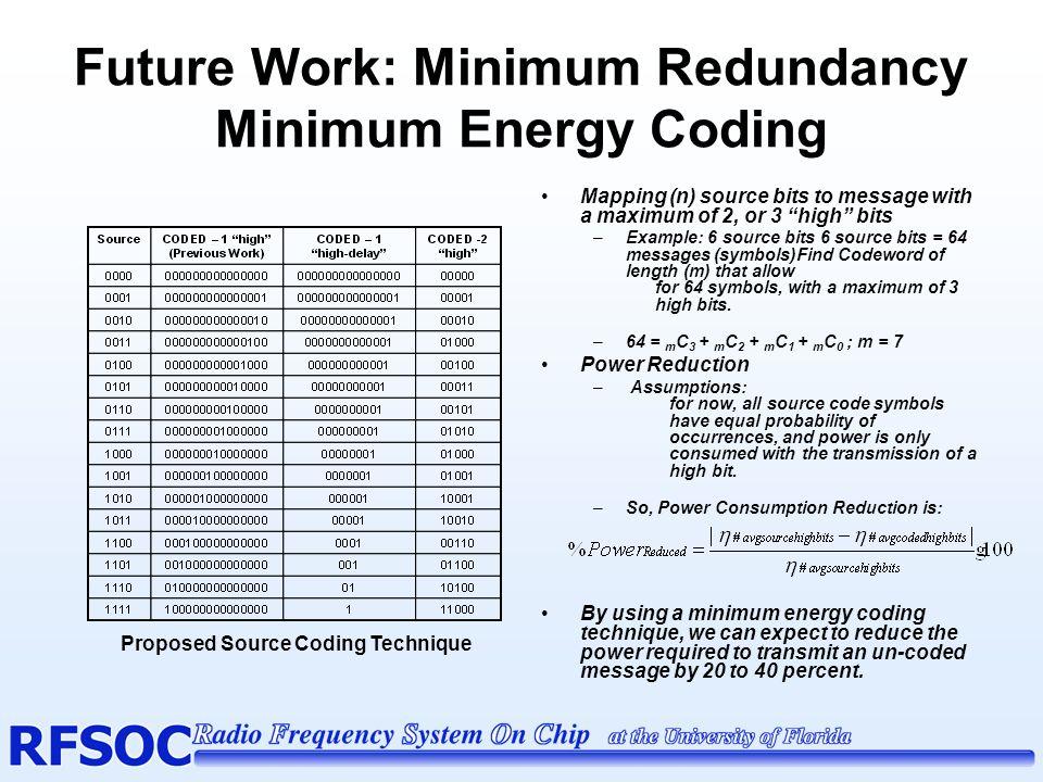 Future Work: Minimum Redundancy Minimum Energy Coding