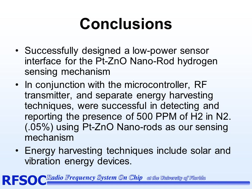 Conclusions Successfully designed a low-power sensor interface for the Pt-ZnO Nano-Rod hydrogen sensing mechanism.