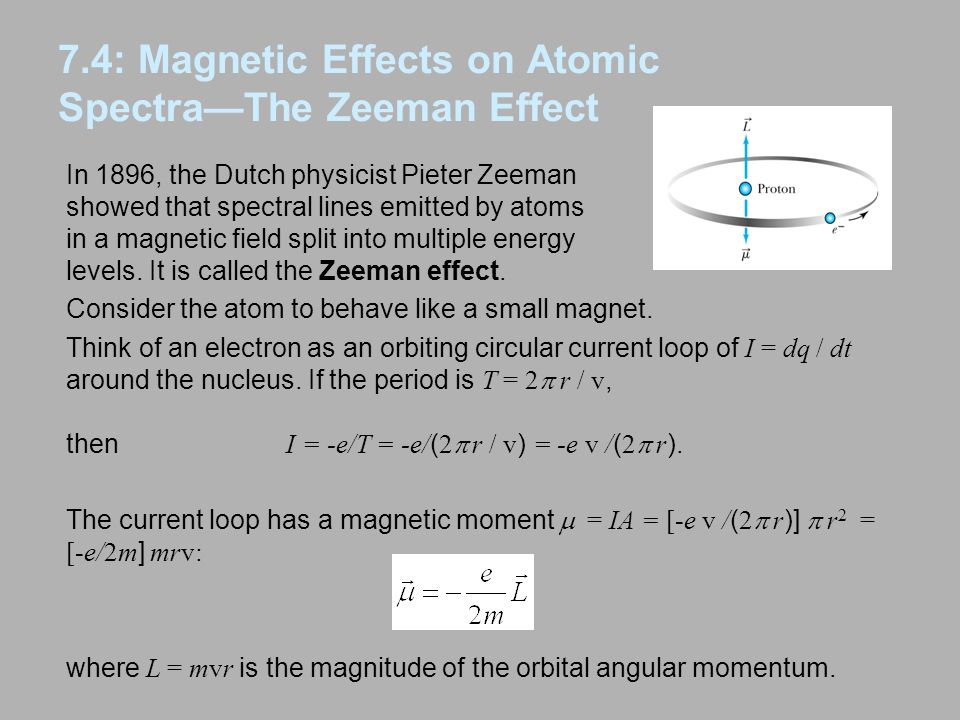 7.4: Magnetic Effects on Atomic Spectra—The Zeeman Effect