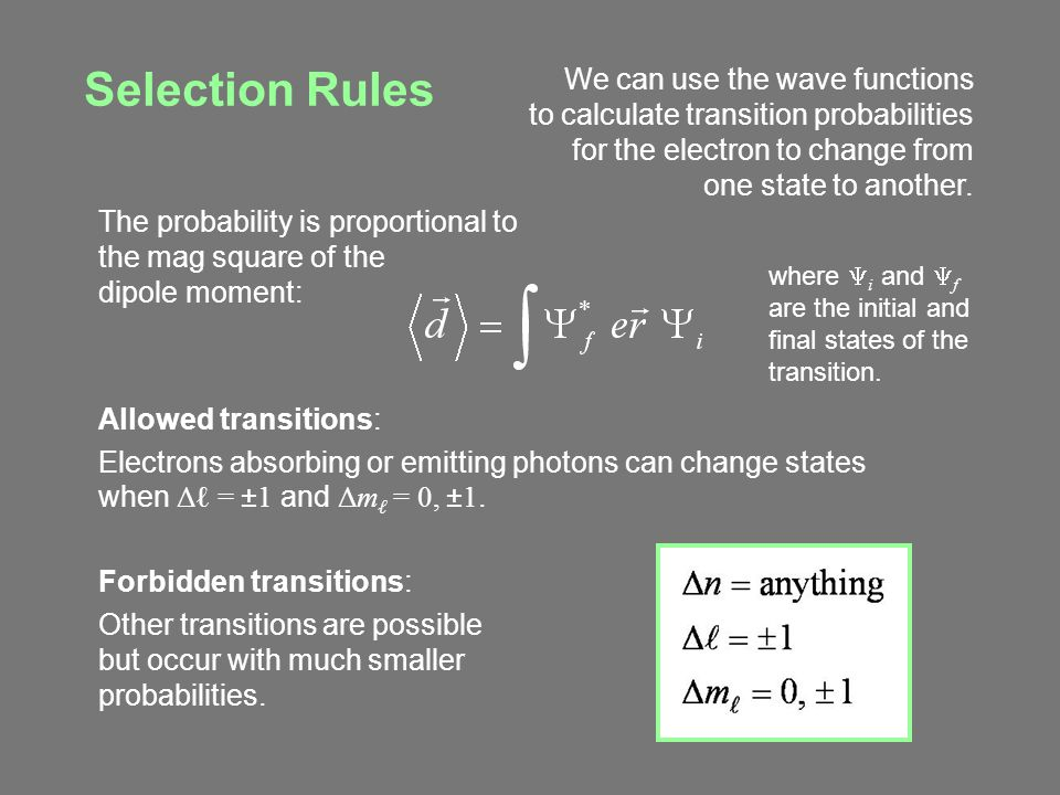 Selection Rules We can use the wave functions to calculate transition probabilities for the electron to change from one state to another.
