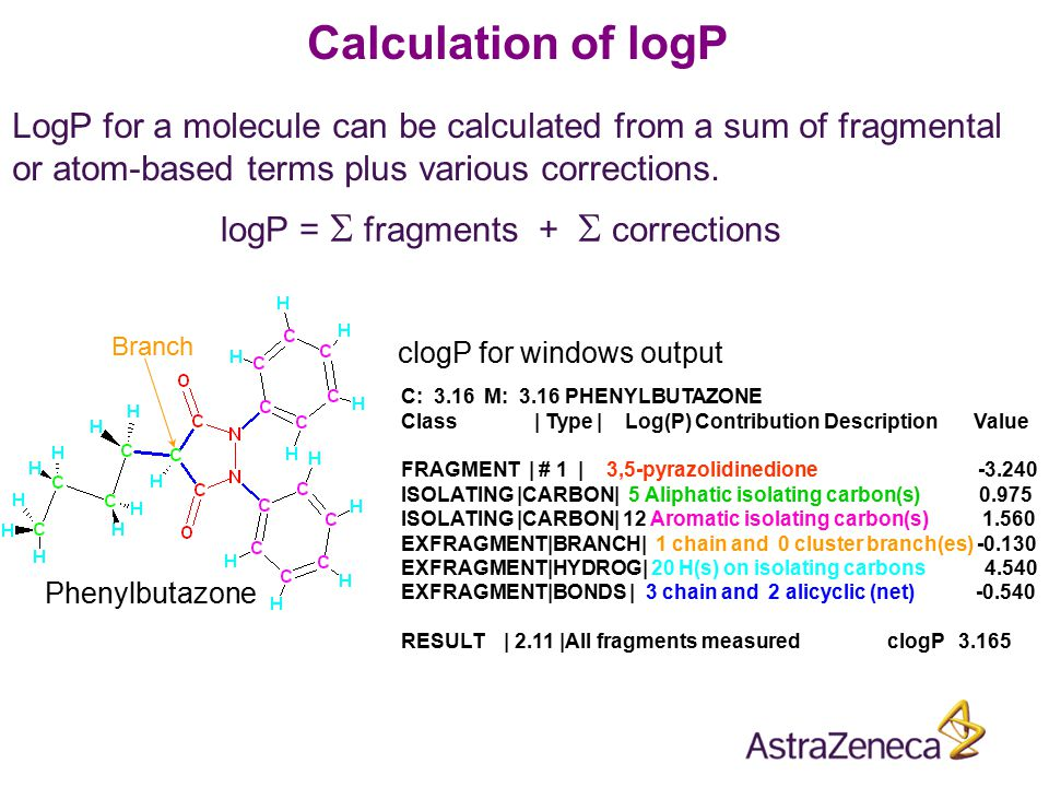 Calculation of logP LogP for a molecule can be calculated from a sum of fragmental or atom-based terms plus various corrections.