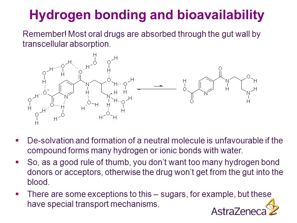 Hydrogen bonding and bioavailability