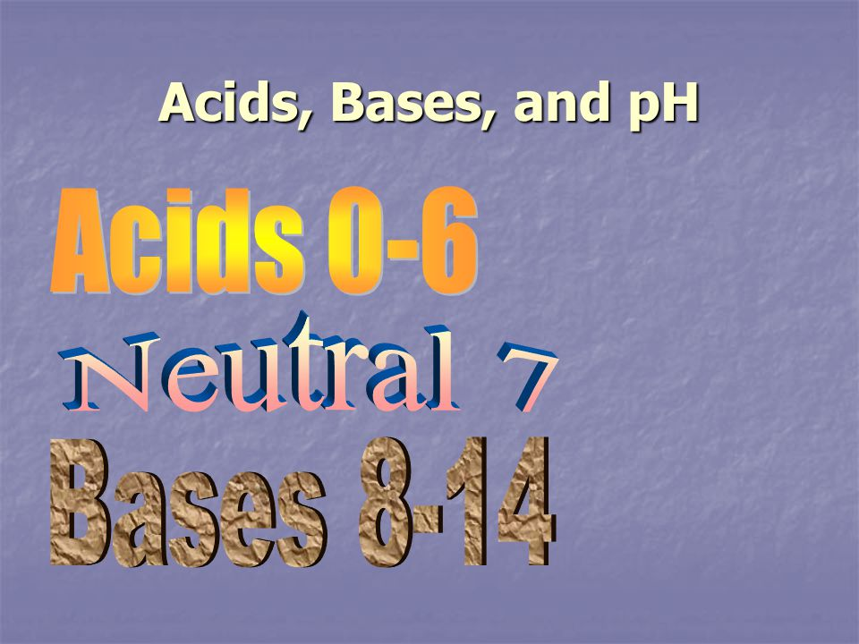 Acids, Bases, and pH Acids 0-6 Neutral 7 Bases 8-14