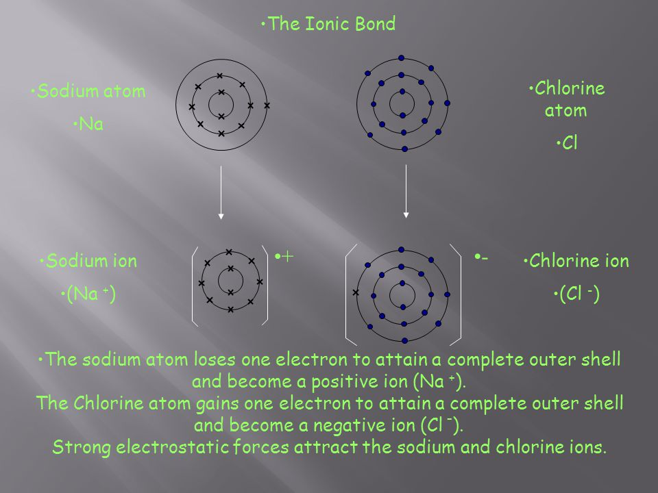 + - The Ionic Bond Sodium atom Na Chlorine atom Cl Sodium ion (Na +)