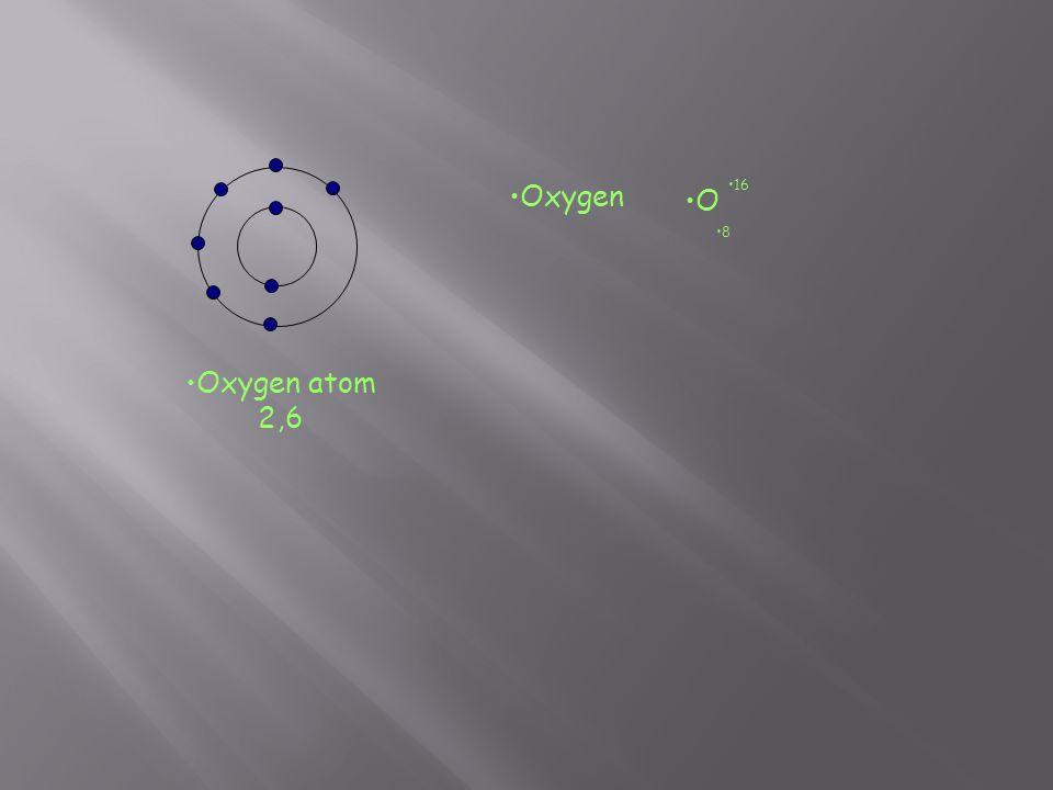 Oxygen O 16 8 Oxygen atom 2,6