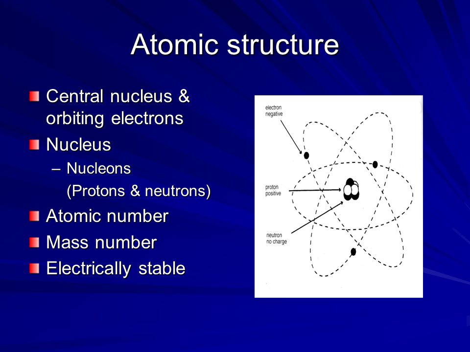 Atomic structure Central nucleus & orbiting electrons Nucleus