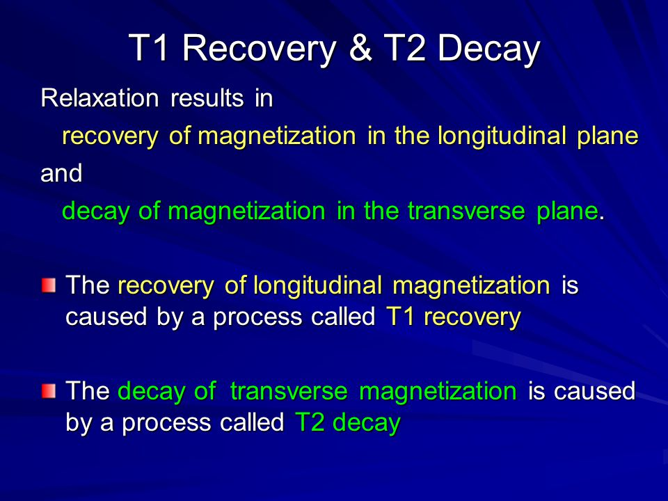 T1 Recovery & T2 Decay Relaxation results in