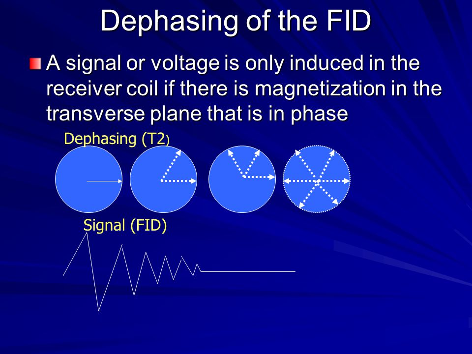 Dephasing of the FID A signal or voltage is only induced in the receiver coil if there is magnetization in the transverse plane that is in phase.