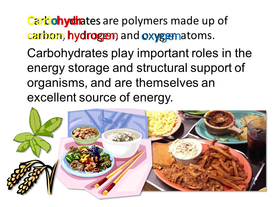 Carbohydrates are polymers made up of carbon, hydrogen, and oxygen atoms.