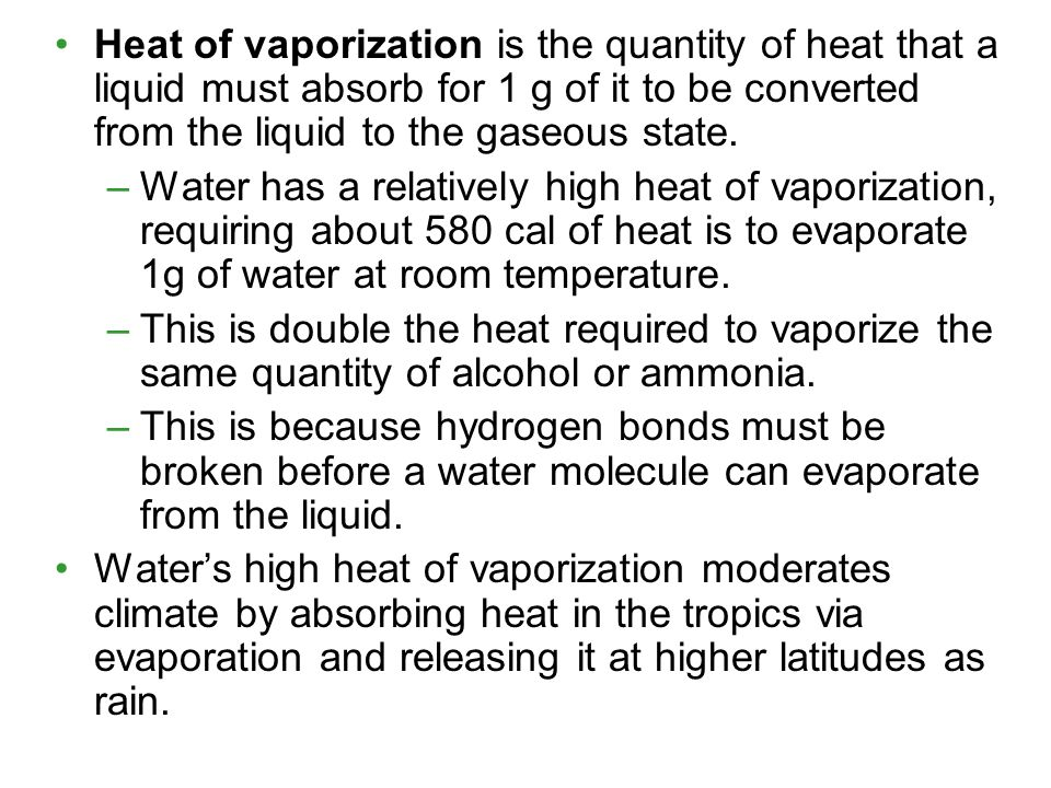 Heat of vaporization is the quantity of heat that a liquid must absorb for 1 g of it to be converted from the liquid to the gaseous state.