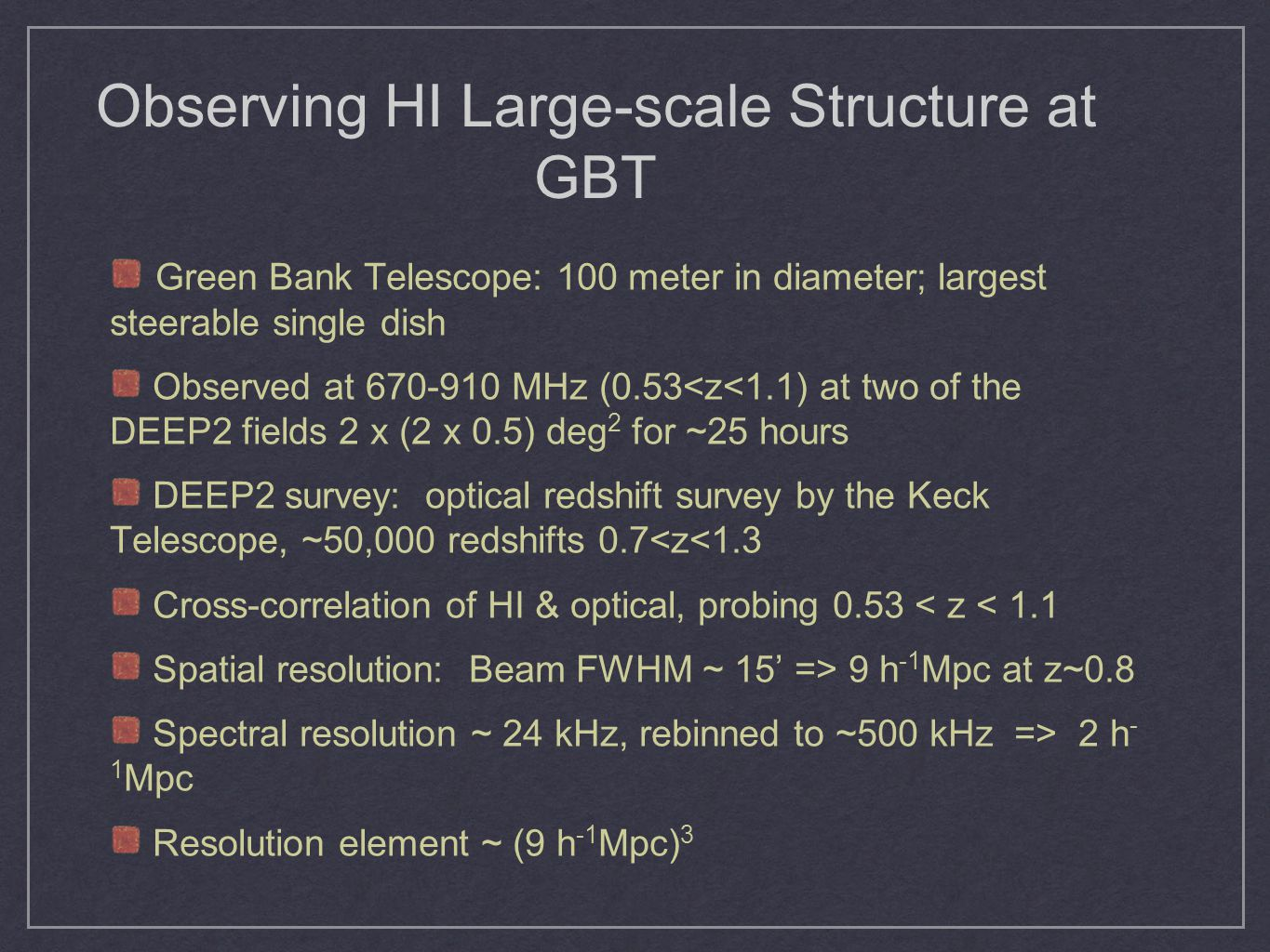 Observing HI Large-scale Structure at GBT