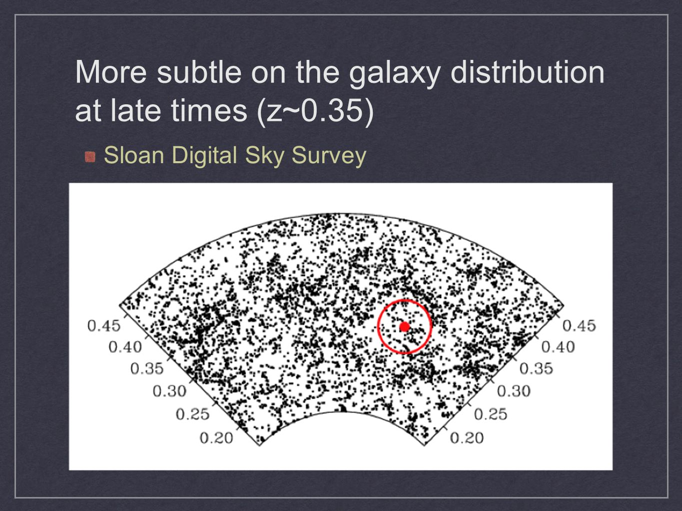 More subtle on the galaxy distribution at late times (z~0.35)
