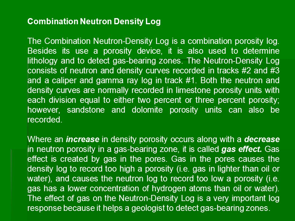 Combination Neutron Density Log