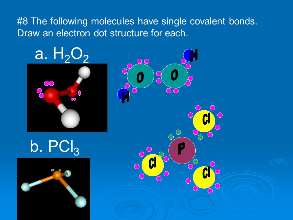 a. H2O2 b. PCl3 #8 The following molecules have single covalent bonds.