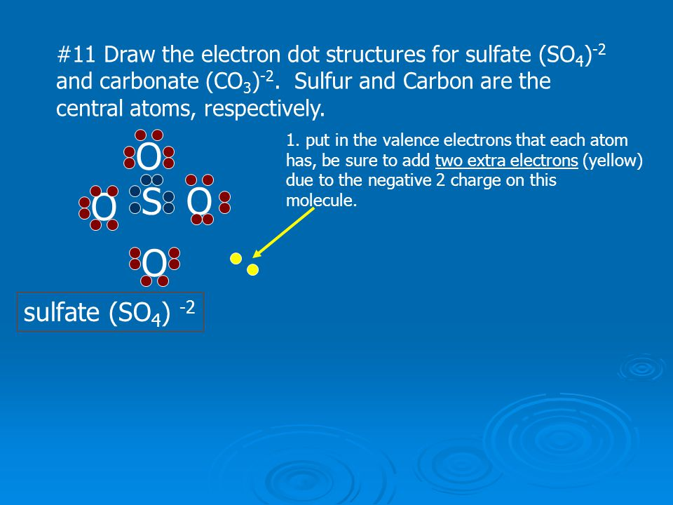 #11 Draw the electron dot structures for sulfate (SO4)-2