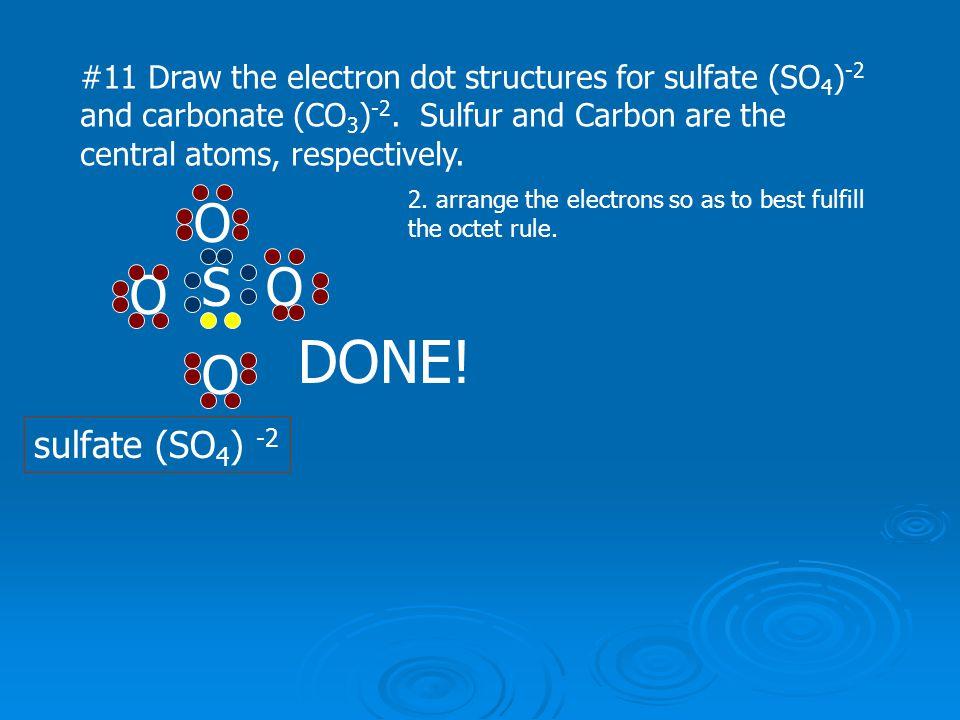 DONE! O S O O O sulfate (SO4) -2