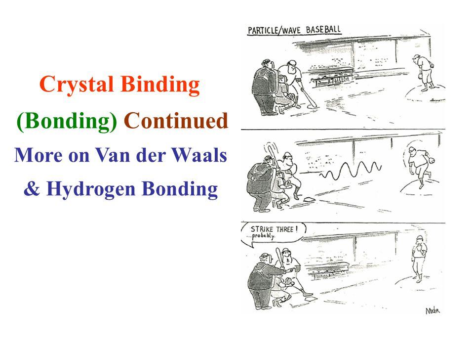 Crystal Binding (Bonding) Continued