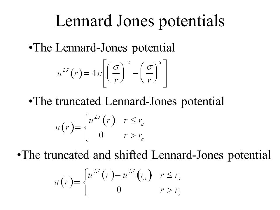 Lennard Jones potentials