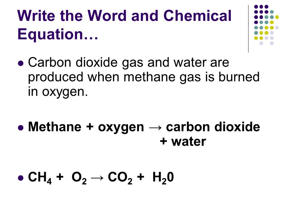Write the Word and Chemical Equation…