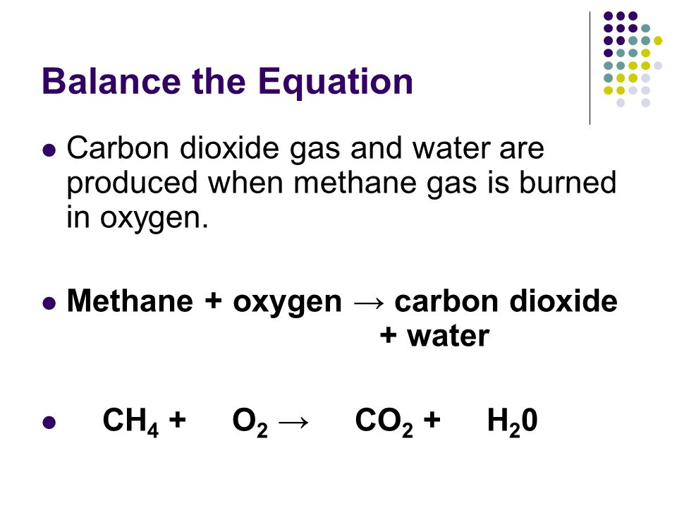 Balance the Equation Carbon dioxide gas and water are produced when methane gas is burned in oxygen.