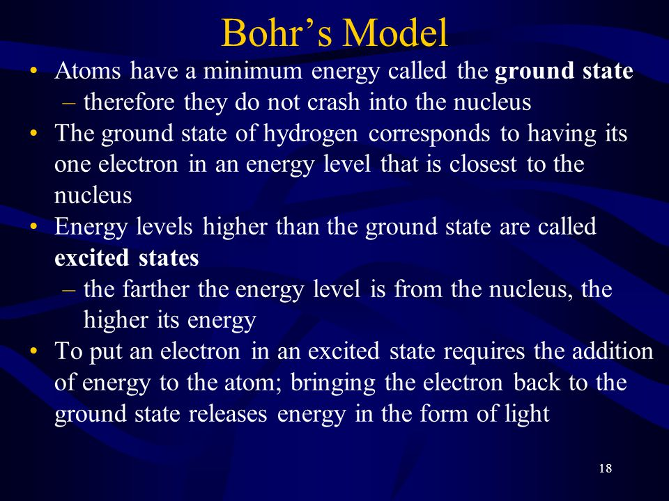 Bohr's Model Atoms have a minimum energy called the ground state