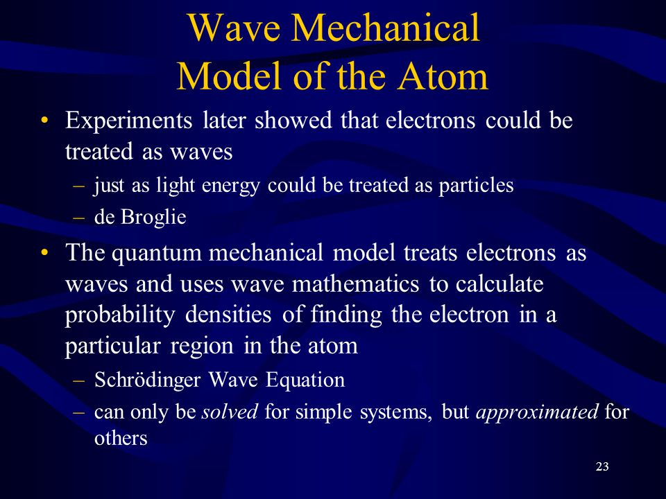 Wave Mechanical Model of the Atom