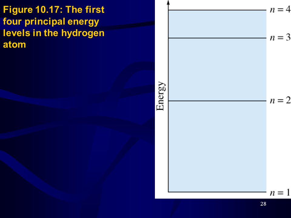 Figure 10.17: The first four principal energy levels in the hydrogen atom