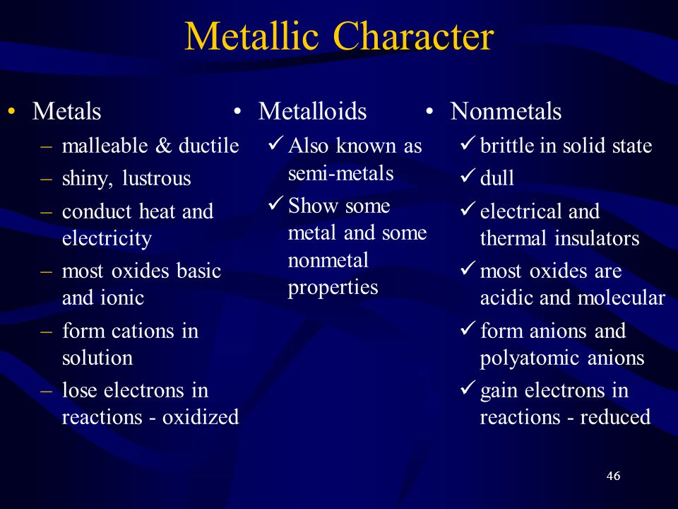 Metallic Character Metals Metalloids Nonmetals malleable & ductile